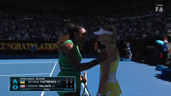 'You're so young, you're amazing' Pure class from @serenawilliams 👑 She defeats Yastremska 6-2, 6-1. #AusOpen