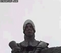 """So... """"Holy Grail"""" is on Netflix. I'm watching for the ten-thousandth time. And it just hit me TODAY that when @JohnCleese's French guard refers to """"stuffy English 'kaniggits,'"""" he's pronouncing """"knights"""" phonetically.  That movie is the gift that keeps on giving."""