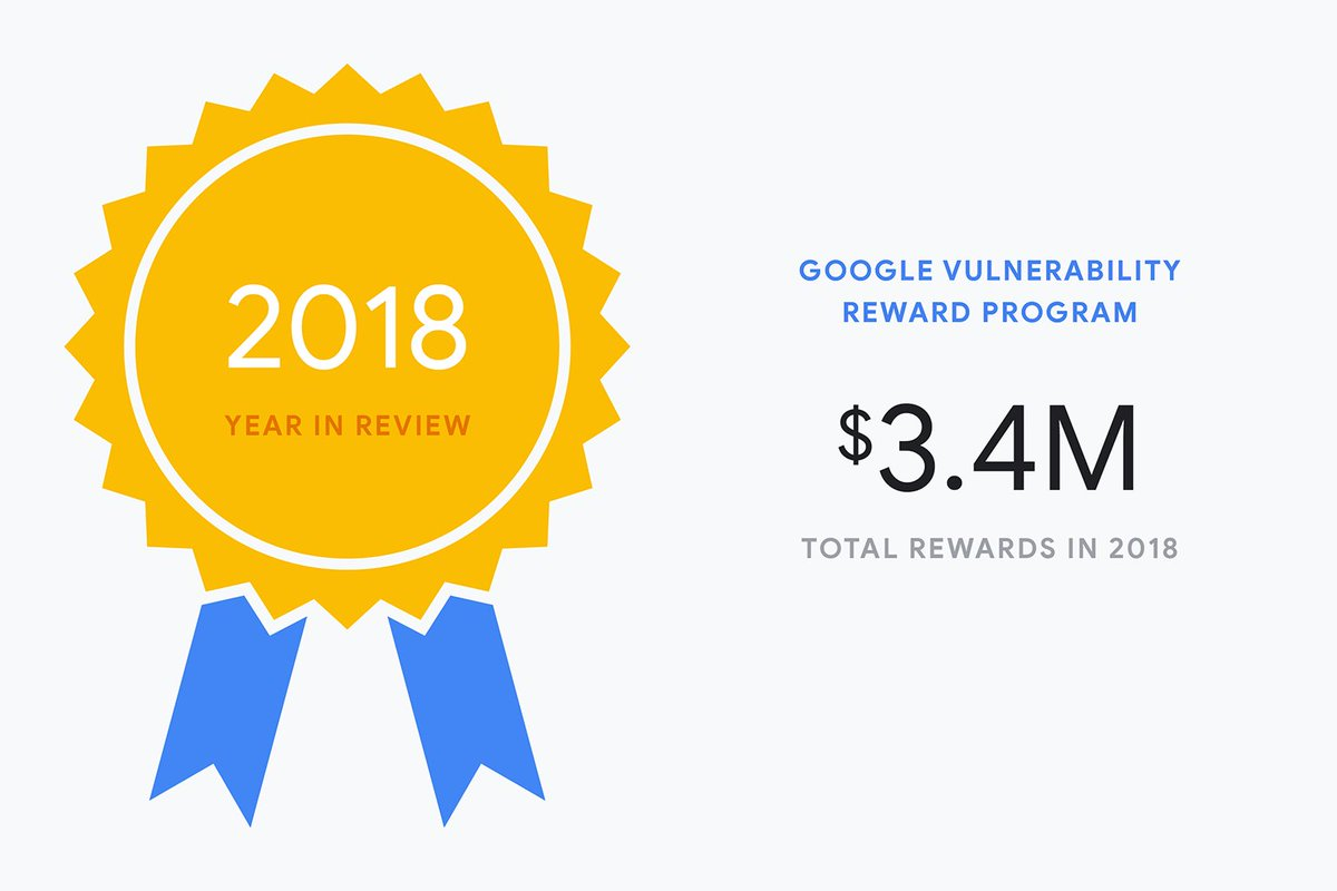 Bugs, be gone. Since 2010, security researchers around the world have identified and reported bugs in Google apps and software through our Vulnerability Rewards Program. Have a look at last year's impact → http://goo.gl/kmqgmv