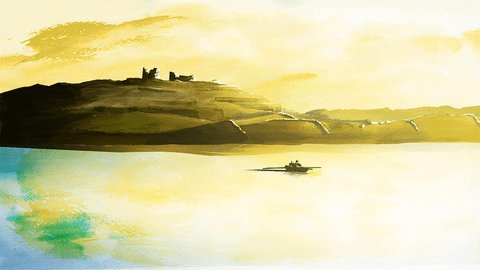 Today's GIF from An tEarrach Thiar! Set on Inishmore, an island due west from where Eimhin grew up, this film places the viewer in the not too distant past and shows the lives of the islanders as the day comes to a close. #animation #painting Tap #antearrachthiar for more!
