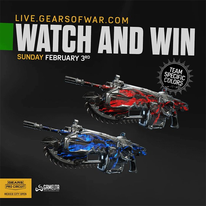 The Animated Team Glow Lancer will be claimable FREE within the next few matches of the #GearsMX Grand Finals for a limited time!  Get hyped, get signed in and get ready to claim🔻 http://live.gearsofwar.com