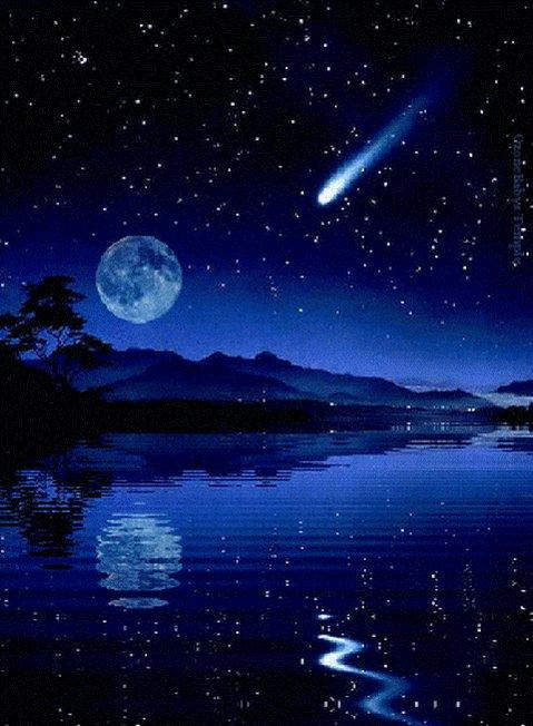 Звезды и луна гифы, любовью