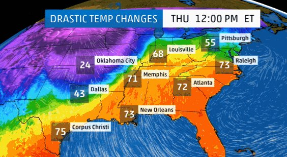 Not hard to spot the cold front. It's bringing chilly changes to parts of the South. Example: At noon, Memphis will be in the low 70s. By morning, expect 20s. Brrr! I'll let you know how long it'll last alongside @TevinWooten & @GregPostel on the @weatherchannel. 9am-1pm ET!