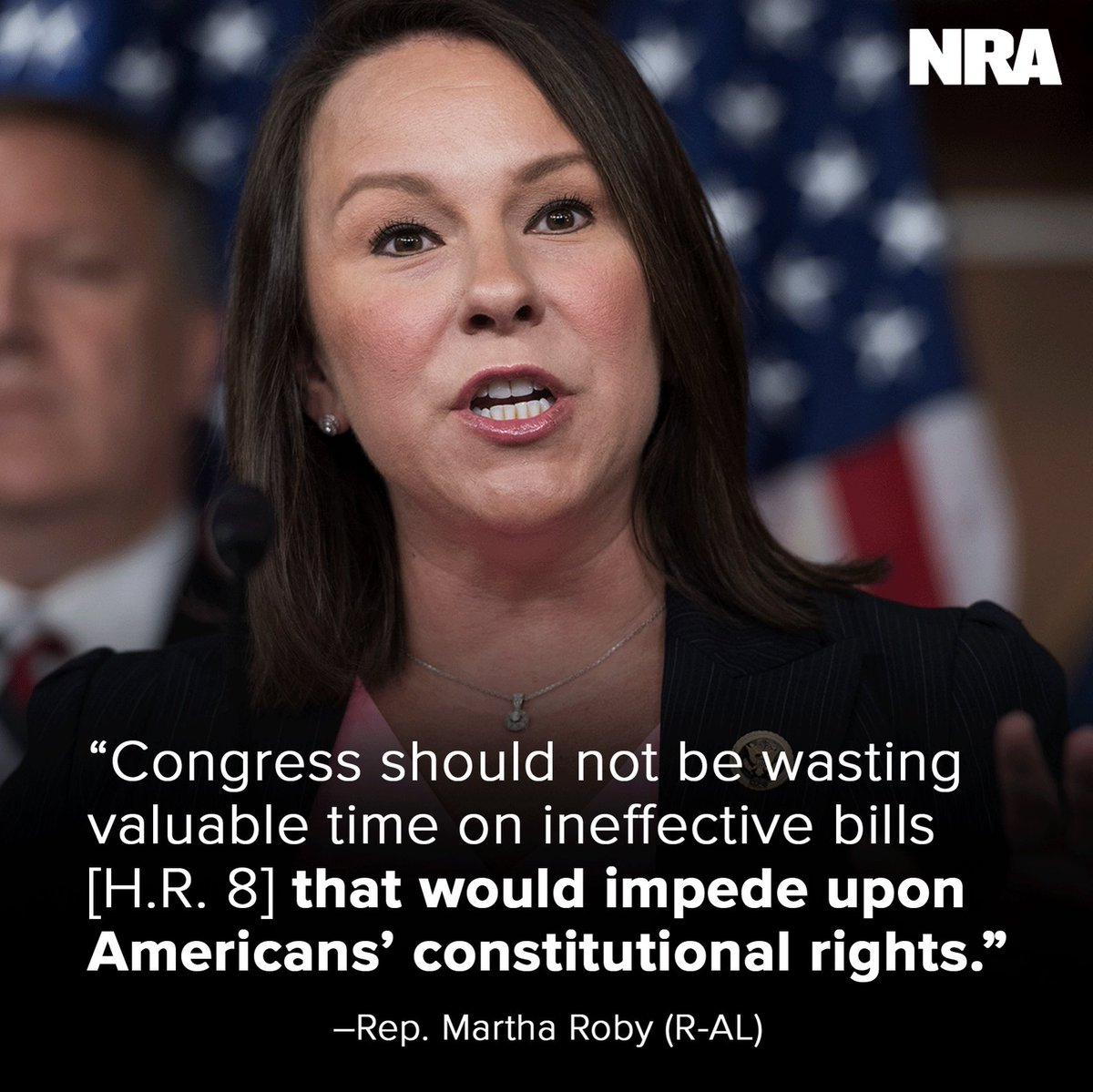 """.@RepMarthaRoby (R-AL) is right! #HR8 (so-called """"universal"""" background check legislation) is entirely ineffective and would impede on our right to self-defense. Read her piece on #HR8 → http://bit.ly/Roby2A"""