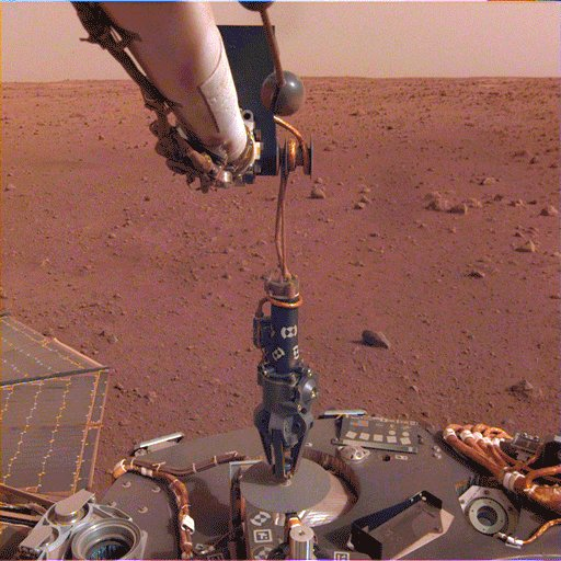 The gang's all here: my seismometer, its cover, and now the heat flow probe! It's no easy task to set up such sensitive instruments on the surface of another world. Together we'll unlock some of #Mars' deep secrets.