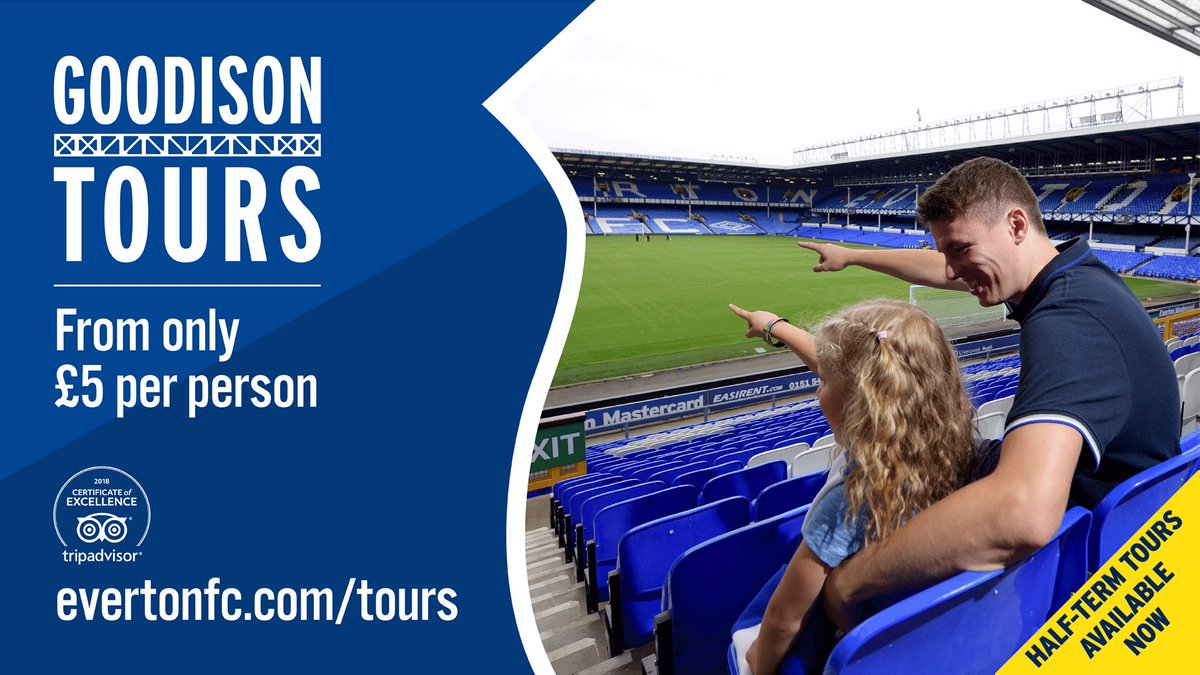 🏟 | February half-term stadium tours available now from just £5!  BOOK NOW ➡️ http://bit.ly/GoodisonTours