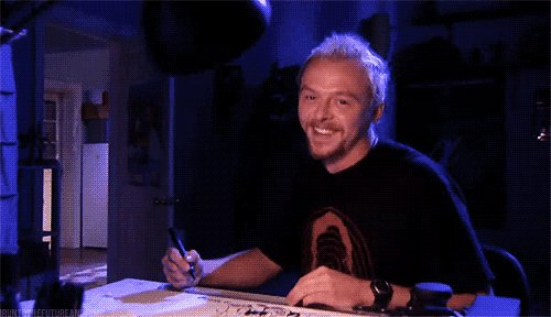 Happy 49th birthday to Simon Pegg.  P.S thank you for the shot that led to this GIF.