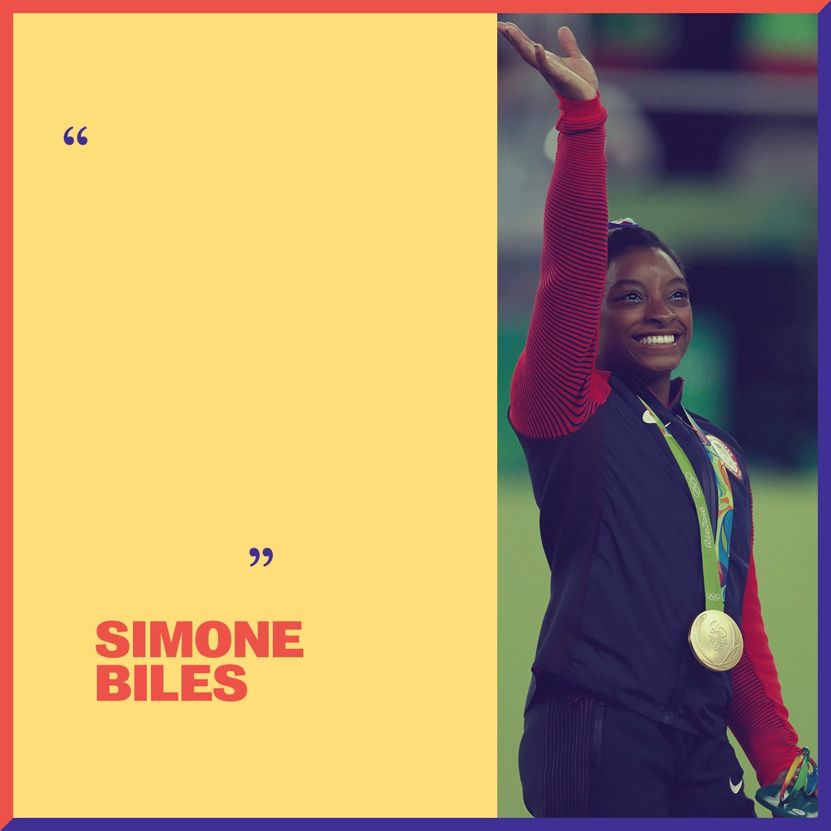 Decorated gymnast @Simone_Biles was six years old when she was introduced to gymnastics and insisted her parents enroll her at the gym. Years later, that same persistence would lead her to become the first woman gymnast to win three consecutive World All-Around titles.