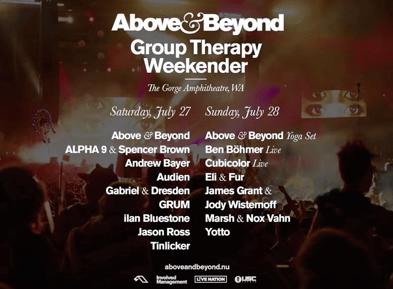 Announcing the lineup for our inaugural Group Therapy Weekender at The Gorge.   On sale now: http://aboveandbeyond.nu/gtw