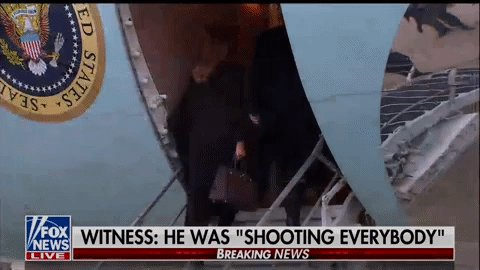 President Trump boards Air Force One shortly after news of a mass shooting in Illinois emerges. He's en route to vacation in Florida at the private club he still owns & profits from. Trump reportedly ignored questions from reporters about the shooting.