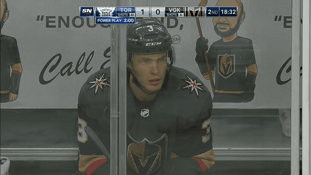 Brayden McNabb got caught smirking after he knocked Andreas Johnsson out of the game: http://deadsp.in/v4ybTjH