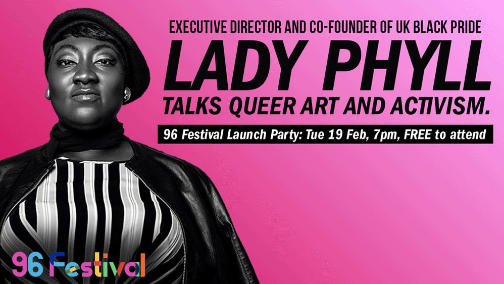 #96Fest launches TONIGHT with an unscripted conversation on #QueerArt and #QueerActivism. FREE to attend! @MarieMcCarthyAD will chair a panel made up of @MsLadyPhyll, @Jan_Gooding, @mcashmanCBE, @LindaRiley8, @zeus_japonicus, #CassieLeon and @rebeccaroot1969! 🎉🎉🎉🎉🎉🎉