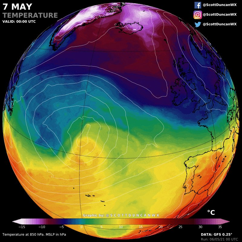 Extreme flip in temperature unfolding in Europe right now. Heat from Africa is  migrating north to replace the cold.  A dramatic transition from winter to summer in less than 48 hours.