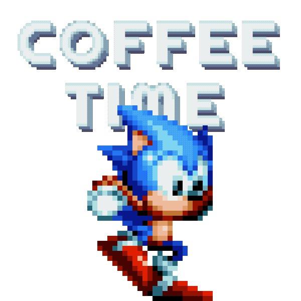 Image for the Tweet beginning: 月曜日、今週もはじまりますね。☀️ コーヒーで目をシャッキッとさせてからスタート!!☕️  (さっきGIFが正しく表示されなかったので再投稿) #ソニック