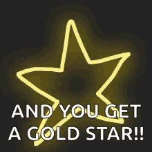 'And you get a gold star' with a gold star being drawn in th