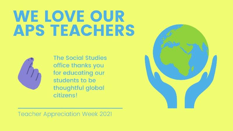 Feliz Semana de Agradecimiento a los Maestros 🎉 especialmente a todos nuestros maestros de estudios sociales que están en la primera línea de ayudar a los estudiantes a dar sentido al mundo🌎🌏🌍 https://t.co/JP7PupMJFJ