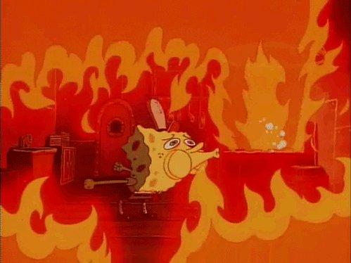 Scared On Fire GIF by SpongeBob SquarePants