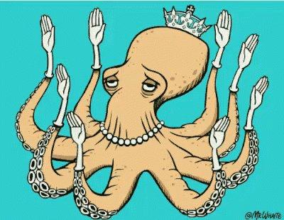 章鱼 八爪鱼 招手 搞笑 GIF