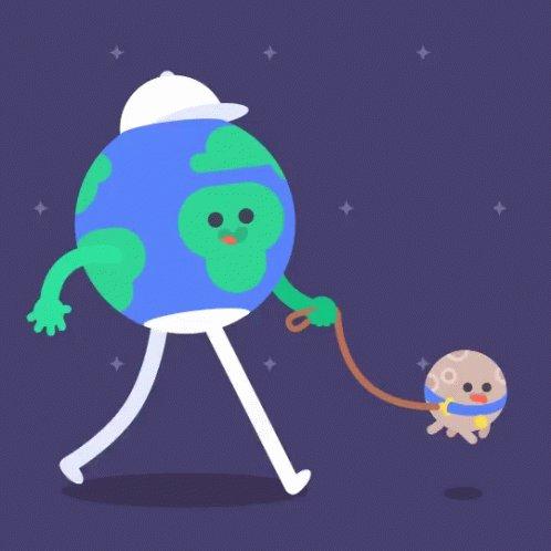 Gif of a cartoon earth, big...