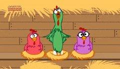 Gif da galinha pintadinha, com uma galinha verde dançando e