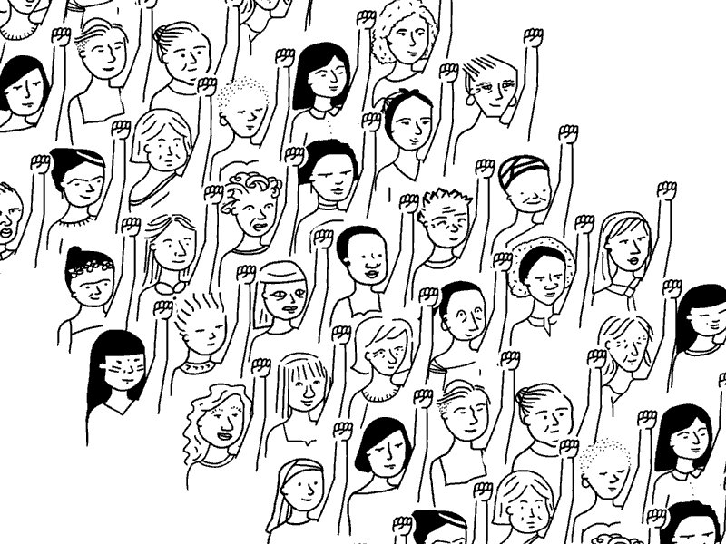Marching Womens March GIF by Laura Salaberry