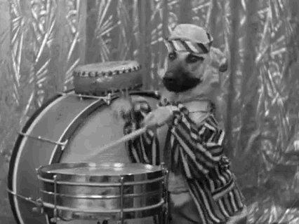 Drumming Black And White GI...