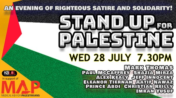 Gig rescheduled! New date announced for Medical Aid for Palestine @MedicalAidPal fundraiser. If you're in Ireland you can stream this gig on line. Donate & buy tickets in link below…