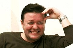 Ricky Gervais Laughing GIF