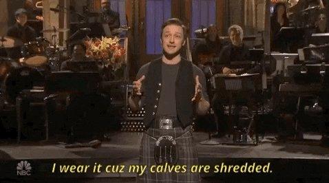 james mcavoy kilt GIF by Saturday Night Live