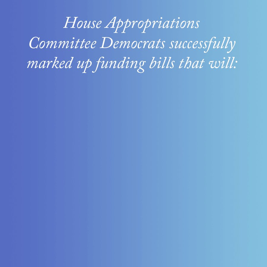 Image for the Tweet beginning: .@AppropsDems priorities are clear:  The American