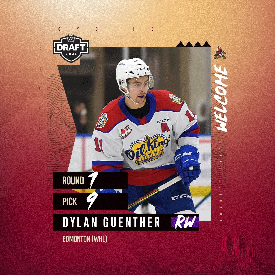 With the #9 pick in the #NHLDraft, we're excited to welcome Dylan Guenther to the desert. 🌵 https://t.co/1zku9x4e7Z