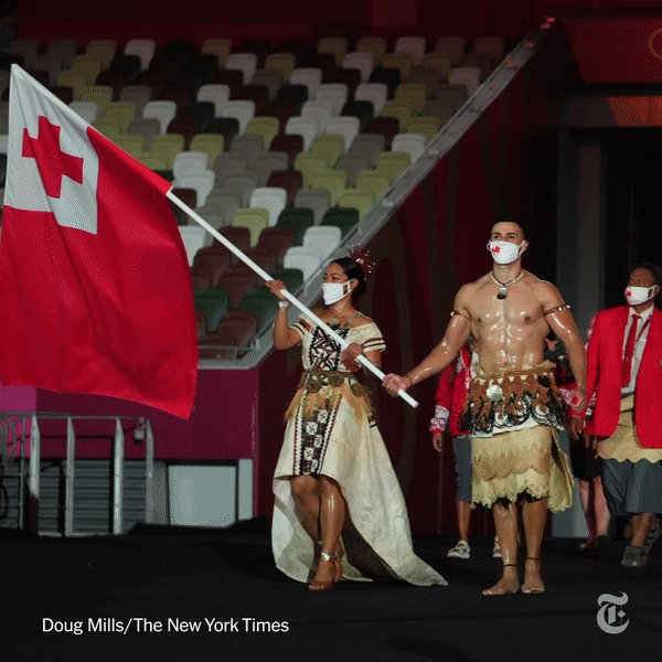 Pita Taufatofua is back for the Tokyo Olympics.   He became an overnight sensation five years ago when he marched shirtless and in a traditional Tongan outfit at the opening ceremonies in 2016 and 2018. He repeated the performance for this year's ceremony. https://t.co/Oj0FHOVV3a https://t.co/GSiYyDKI8J
