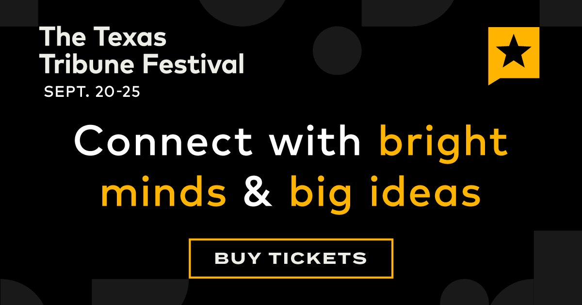Join us virtually Sept. 20-23 and in person in Austin Sept. 24-25 for this year's Texas Tribune Festival. Buy tickets to connect with a speaker lineup that delivers a diversity of life experiences, political ideologies and expertise. https://t.co/dwQ7sxwtyd https://t.co/HBzRWVPSKe