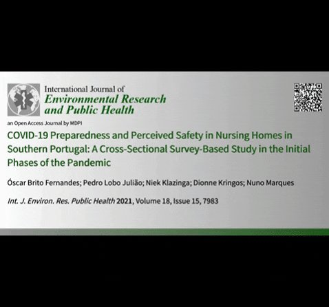 In addition to publishing the paper on COVID-19 nursing home preparedness and safety culture in #Portugal with @MDPIOpenAccess (https://t.co/h8EgPhAIFj), we presented the study's key findings during a @LTCcovid webinar available at https://t.co/P7KbhFAS2q https://t.co/ujvbm6l82m