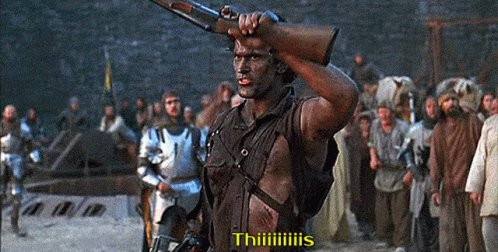 """A scene from the movie """"Army of Darkness"""" where th"""
