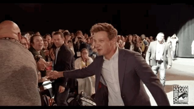 Jeremy Renner walking into the studio to lay down the Theme from Hawkeye like: