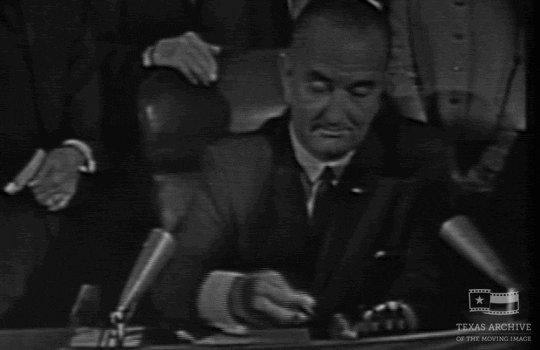 Image for the Tweet beginning: Happy anniversary to the #VotingRightsAct!  Signed