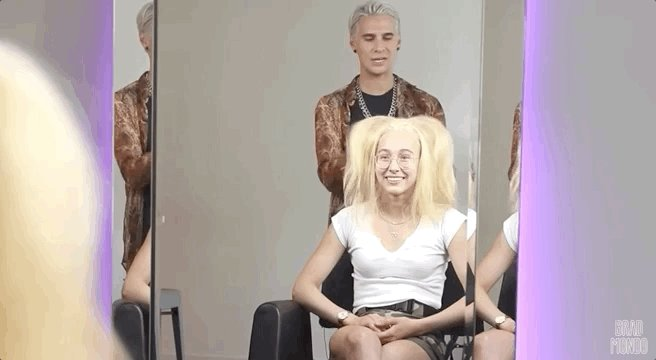 Im your bleached nightmare! @tweet_joana  visited @bradmondonyc  IRL after his reaction to her new hair transformation. Watch Brad give Joana the hair makeover she deserves →  https://goo.gle/2Yyh1si