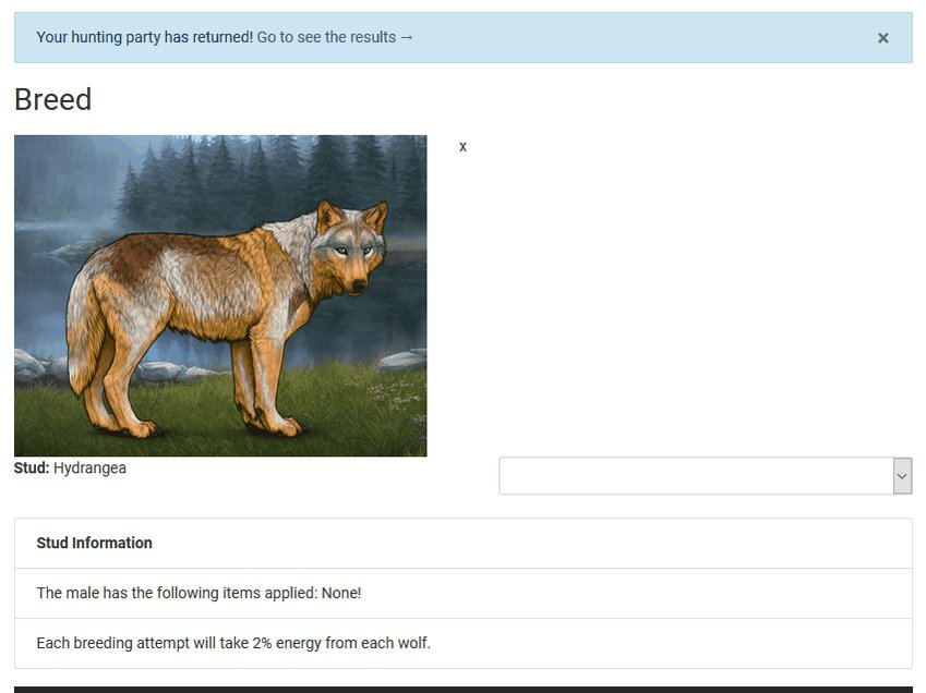 A preview of #Wolvden's nice breeding page!  Excuse the potato wolves, we randomised for demonstration ;)