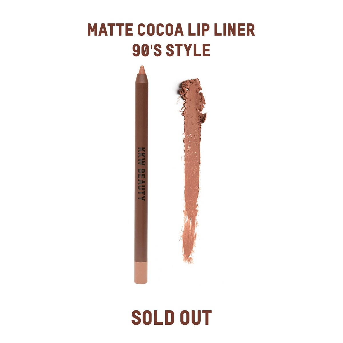 The Matte Cocoa Lip Liner in 90's Style is SOLD OUT! We still have Lipsticks, Lip Liners, Eyeliners and Eyeshadow Palettes available to shop individually at  http://KKWBEAUTY.COM   #KKWBEAUTY