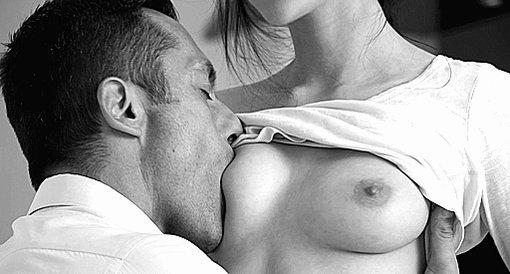 Sensual lesbian boob sucking