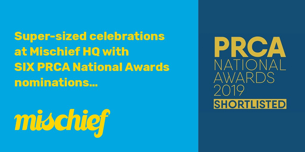 Celebration time for the team with 6 nominations for @PRCA_UK National Awards! #PRCAAwards #shortlist2019👏