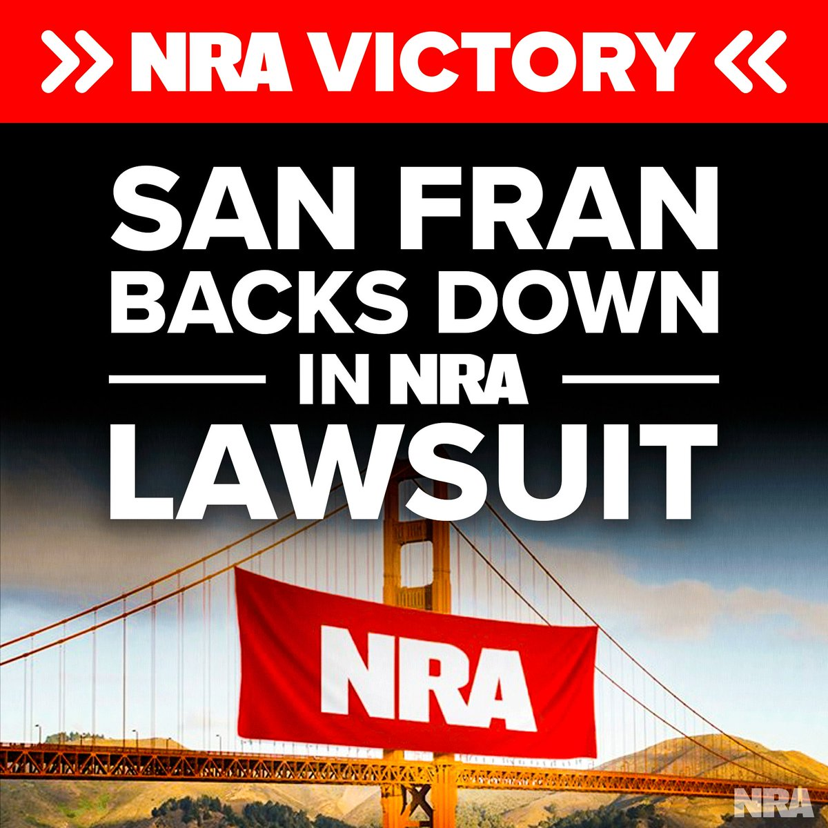 The @NRA declared victory in San Fran today, after Mayor Breed formally disavowed key provisions of a municipal resolution that labeled the NRA a domestic terrorist organization called for NRA contractors to be blacklisted. Read the statement here ➡️ bit.ly/NRAVictory