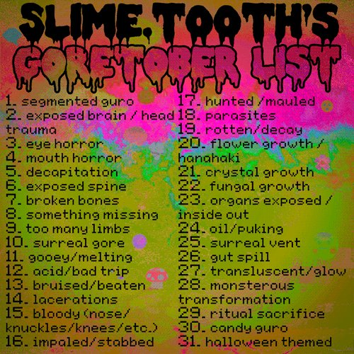 Goretober 2020 List.On Twitter Made My Own Goretober List For This Year