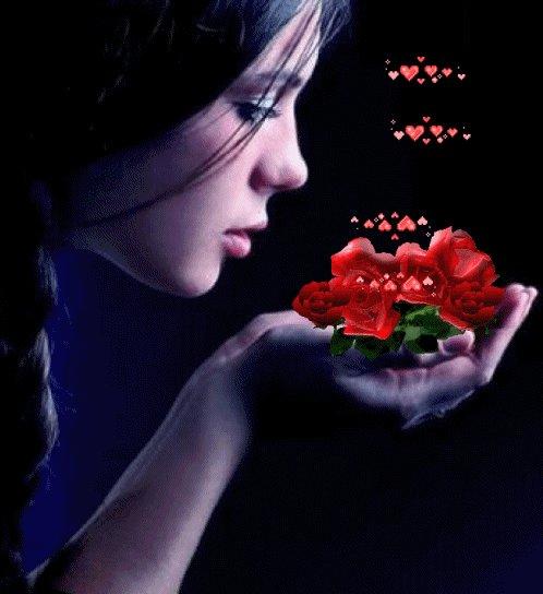 Анимацию картинки роза ночь и девушка