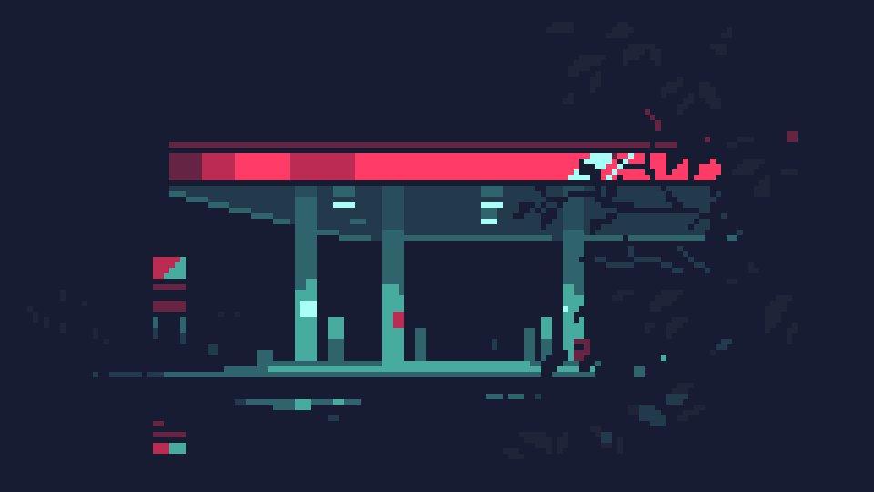Gas Station At Night / montage #pixelart #pixelartist