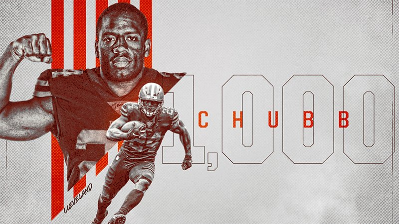 .@NickChubb21 is officially the first NFL player this season to clear 1,000 rushing yards 💪