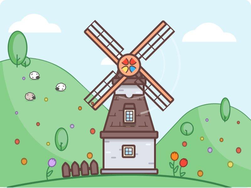анимация картинки мельница новые были