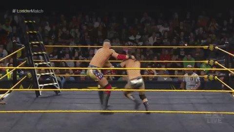 .......boom. 😳#WWENXT #LadderMatch @AdamColePro @DijakovicWWE