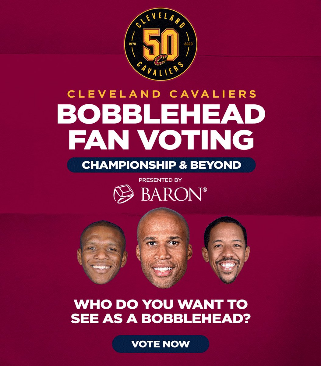 """YOU'RE ON THE CLOCK.⏰  Today is the LAST DAY to vote for our """"Championship Era & Beyond"""" bobblehead, presented by @BaronRings.  VOTE NOW: http://on.nba.com/33rKToo  #Cavs50"""